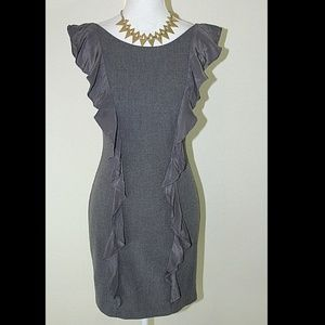 BLACK HALO Gray Jackie Midi Ruffled Sheath Dress 2